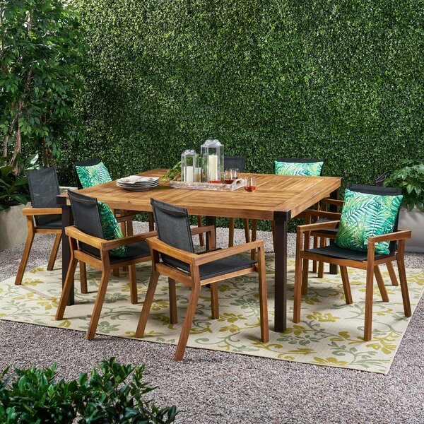 Warrenton Outdoor 9 Piece Dining Set by Millwood Pines
