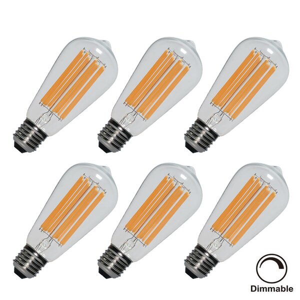 10W E26 LED Edison Light Bulb (Set of 6) (Set of 6) by Eurus Home