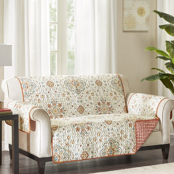 Floral Box Cushion Loveseat Slipcover by August Grove