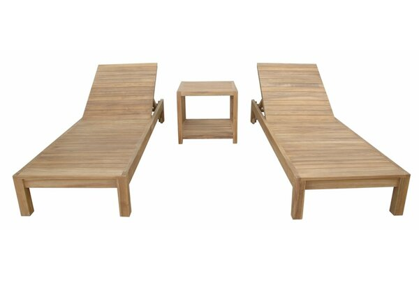 South Bay Glenmore Reclining Teak Chaise Lounge Set with Table by Anderson Teak Anderson Teak