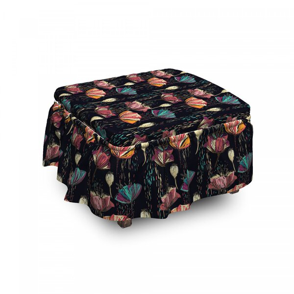 Tulips Fantasy Ottoman Slipcover (Set Of 2) By East Urban Home
