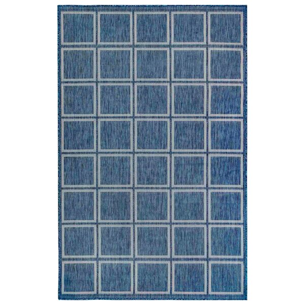 Hamm Squares Navy Indoor/Outdoor Area Rug by Breakwater Bay