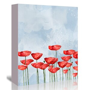 'Poppies' Watercolor Graphic Art Print on Canvas by East Urban Home