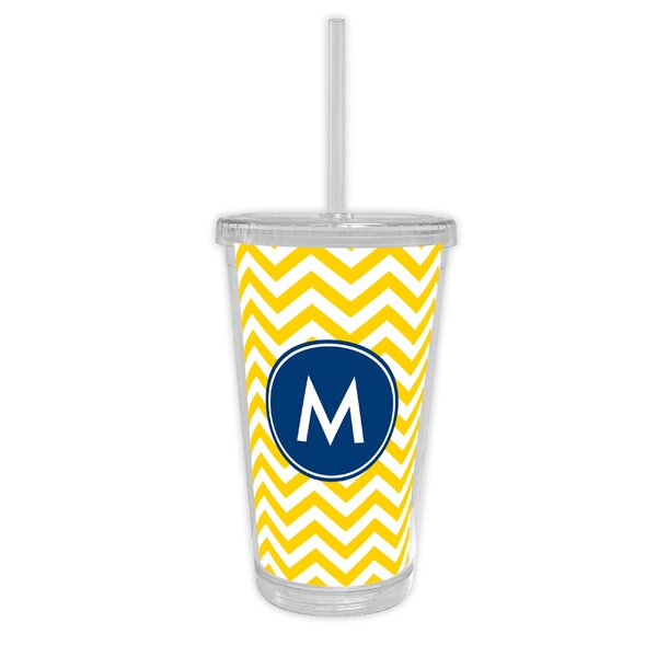 Chevron Single Initial Beverage 16 oz. Plastic Travel Tumbler by Boatman Geller