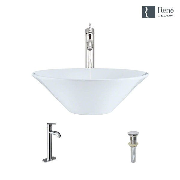 Vitreous China Circular Vessel Bathroom Sink with Faucet and Overflow by René By Elkay
