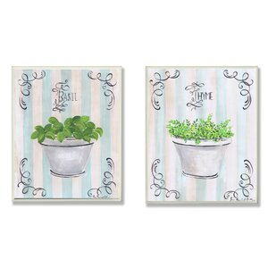 Basil and Thyme in White Pot 2 Piece Painting Print Wall Plaque Set by Stupell Industries