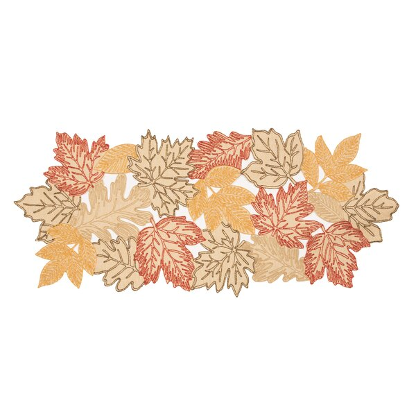 Pagan Autumn Leaves Embroidered Cutwork Table Runner by August Grove