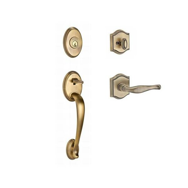 Columbus Single Cylinder Handleset with Decorative Door Lever and Traditional Arch Rose by Baldwin