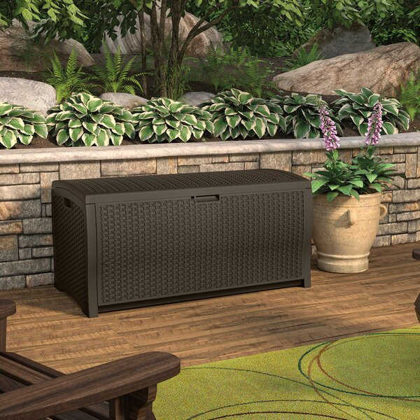 Java Wicker Outdoor 99 Gallon Resin Deck Box By Suncast