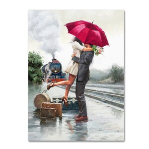 'Couple on Train Station' Print on Canvas by Trademark Fine Art