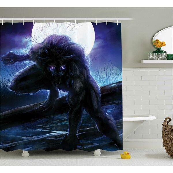 Teri Fantasy World Surreal Werewolf Electric Eyes Moon Transformation Folkloric Decor Shower Curtain by Ebern Designs