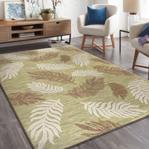 Foreston Shag Tan/Green Indoor/Outdoor Rug