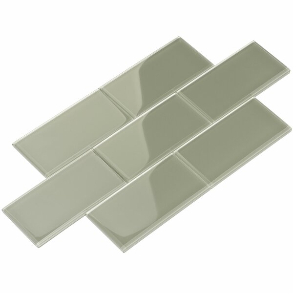 3 x 6 Glass Subway Tile in Light Gray by Giorbello