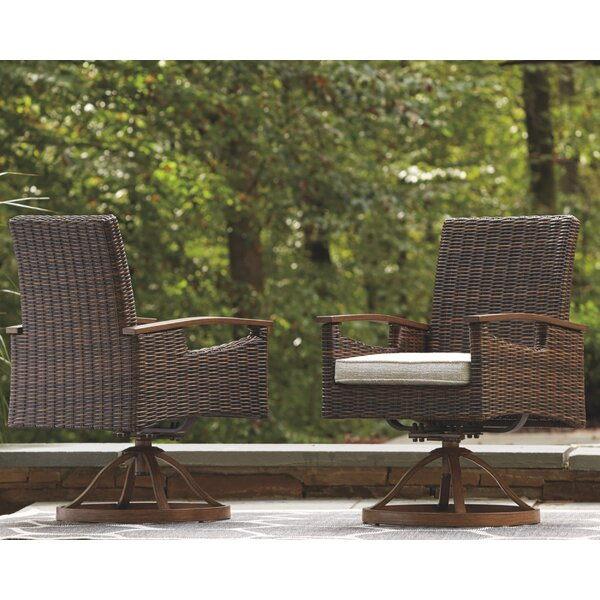 Estill Swivel Patio Dining Chair with Cushion (Set of 2) by Highland Dunes Highland Dunes
