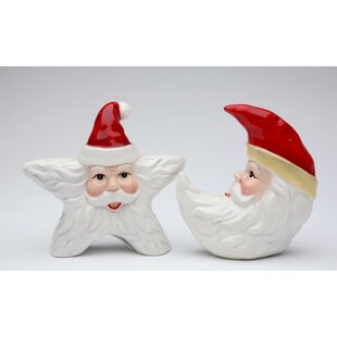 Santa Star and Moon 2-Piece Salt and Pepper Set By Cosmos Gifts