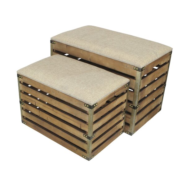 Probst Rectangular Slat Storage 2 Piece Bench Set with Metal Accent and Cushioned Lid by Gracie Oaks