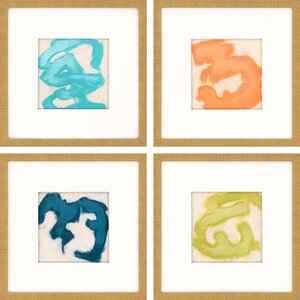 Gestural II by Vess 4 Piece Framed Painting Print Set by Paragon