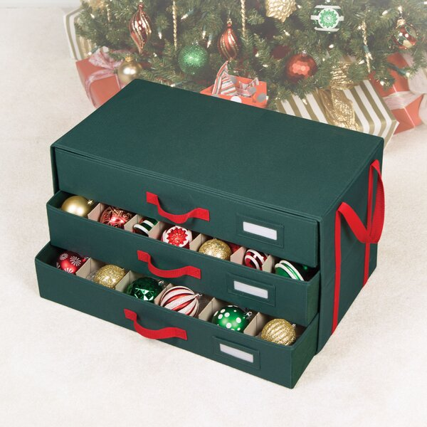 Holiday 54 Compartment 3 Drawer Ornament Storage b