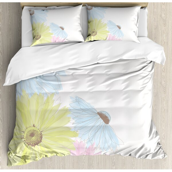 Gerbera Daisies Chamomiles in Different Spring Season Garden Duvet Set by East Urban Home