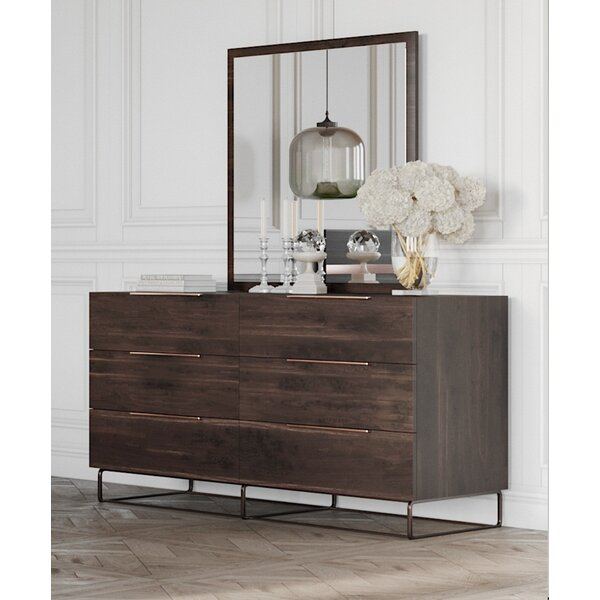 Kinzey 6 Drawer Double Dresser with Mirror by Brayden Studio