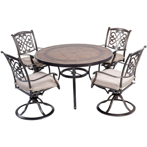 Oundle 5 Piece Bistro Set with Cushions (Set of 5)