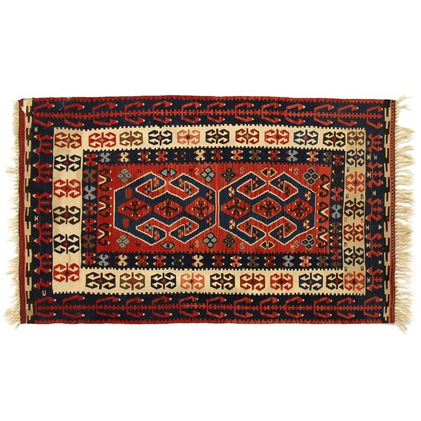 One-of-a-Kind Antique Turkish Hand-Woven Wool Red/Navy Area Rug by Exquisite Rugs
