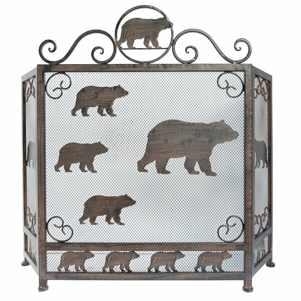 Bear 3 Panel Iron Fireplace Screen By De Leon Collections