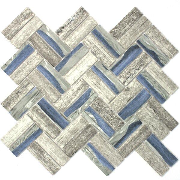 Recycle Herringbone Wooden Look 1 x 3 Glass Mosaic Tile in Blue/Gray by Multile