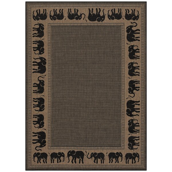 Sawtelle Black/Beige Indoor/Outdoor Area Rug by World Menagerie
