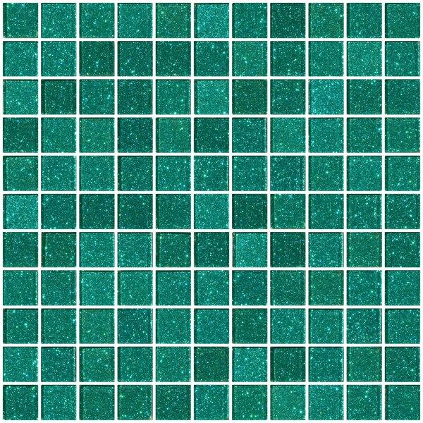 1 x 1 Glass Mosaic Tile in Aqua Green by Susan Jablon