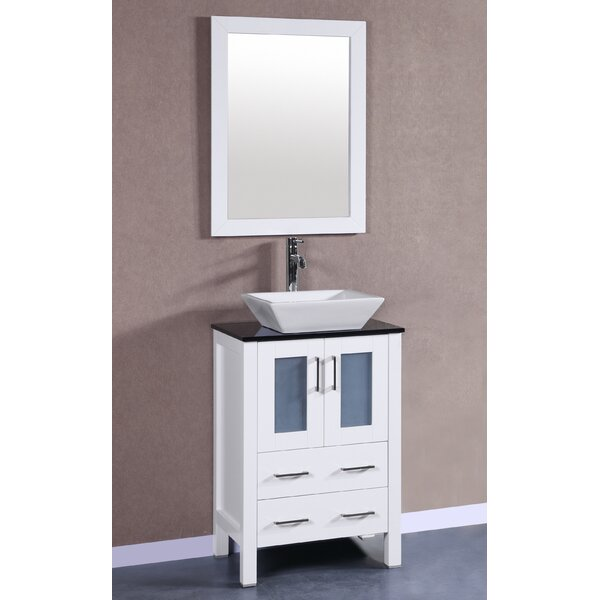 Lehigh 24 Single Bathroom Vanity Set with Mirror by BosconiLehigh 24 Single Bathroom Vanity Set with Mirror by Bosconi