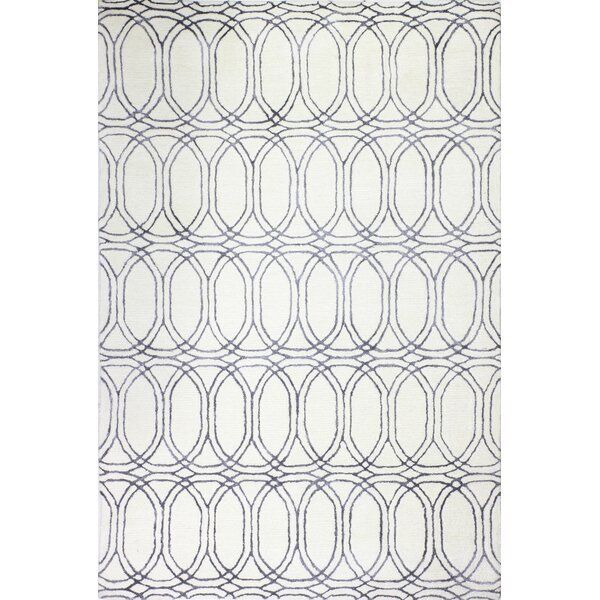 Leto Hand Tufted Cotton White/Slate Area Rug by Brayden Studio