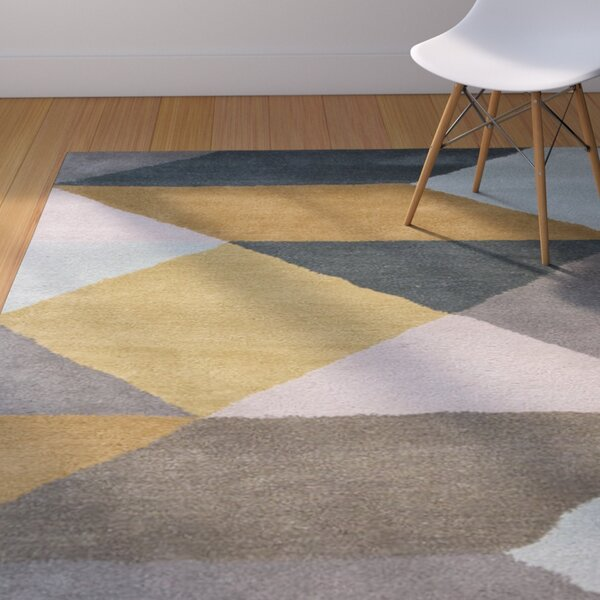 Reid Hand-Tufted Yellow/Gray Area Rug by Corrigan Studio