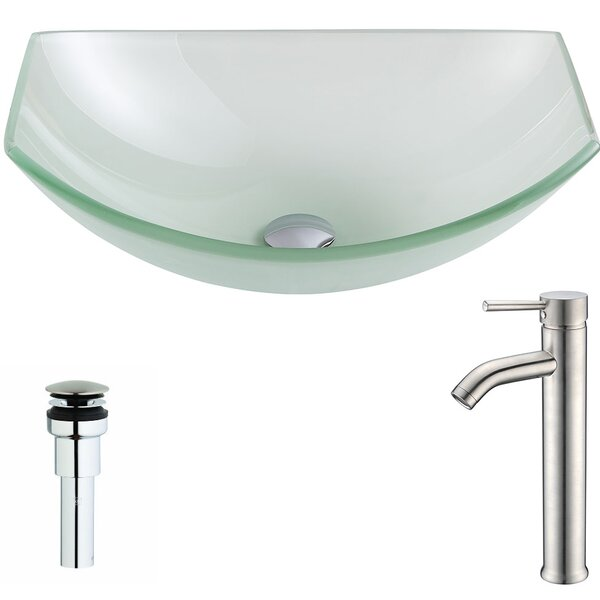 Pendant Glass Specialty Vessel Bathroom Sink with Faucet