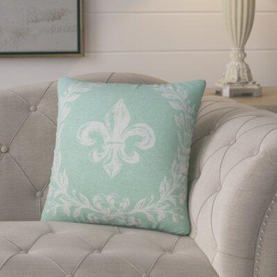 Clematite Fleur de Lis Linen Throw Pillow Lark Manor Color: Aqua