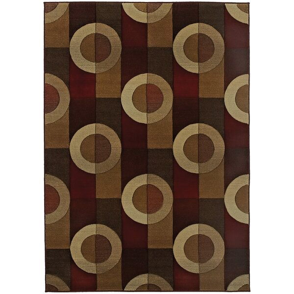 Meliton Geometric Brown/Beige Area Rug by Latitude Run
