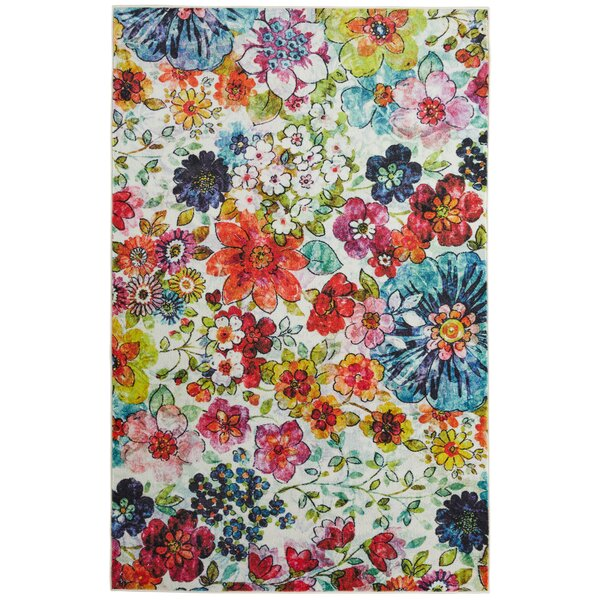 Venson Blossoms Pink/Blue Area Rug by Latitude Run