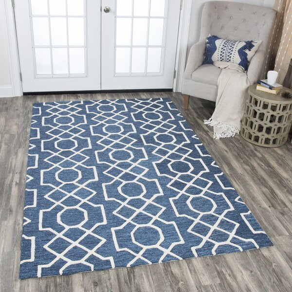 Arcand Hand-Tufted Dark Blue Area Rug by Brayden Studio