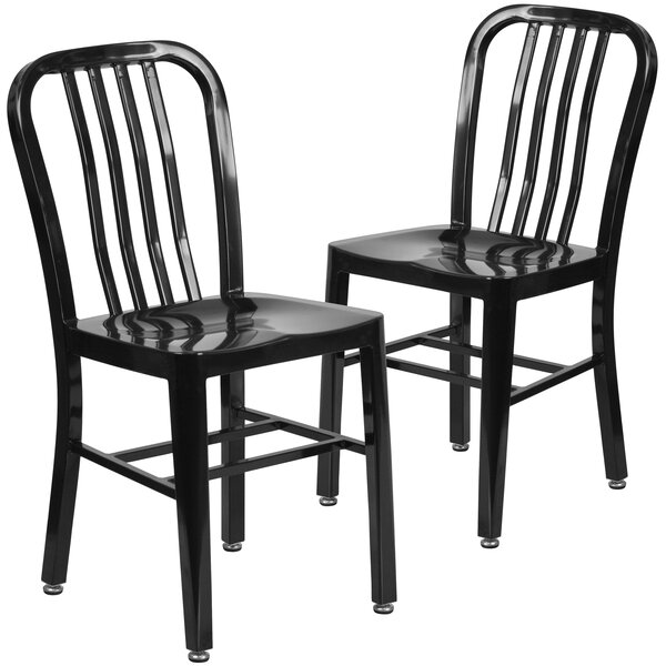 Phineas Metal Slat Back Side Chair (Set Of 2) By Latitude Run