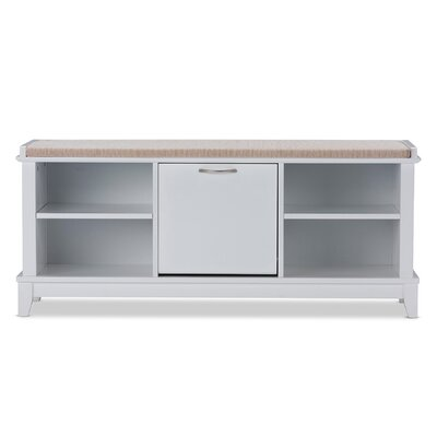 Baxton Studio Swiss Modern And Contemporary White Wooden Shoe Storage Seating Bench