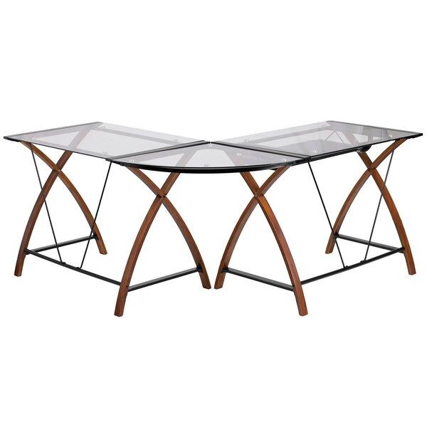 Glass L-Shape Corner Desk by Offex