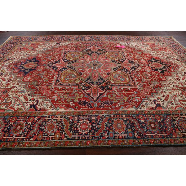 One-of-a-Kind Hand-Knotted 1940s Serapi Red 8'10 x 12'1 Wool Area Rug