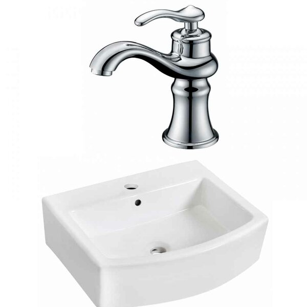 Ceramic Vessel Bathroom Sink with Faucet and Overflow