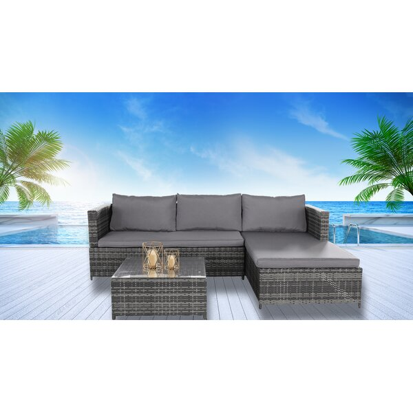 Levasy 3 Piece Sectional Set with Cushions by Wrought Studio Wrought Studio