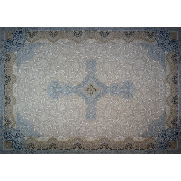 Moats Hand Look Persian Wool Brown/Blue/Ivory Area Rug
