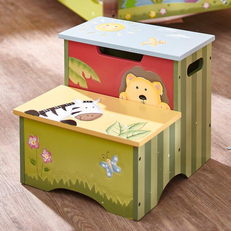Fantasy Fields Sunny Safari Kids Step Stool With Storage