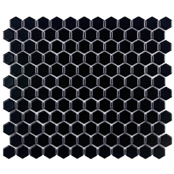 Retro 1 x 1 Porcelain Mosaic Tile in Matte Black by EliteTile