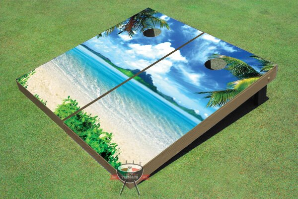 Island Paradise Cornhole Board (Set of 2) by All American Tailgate