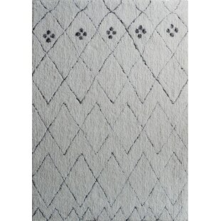 Savings Moro Shag Hand-Tufted White Area Rug By Rug Factory Plus