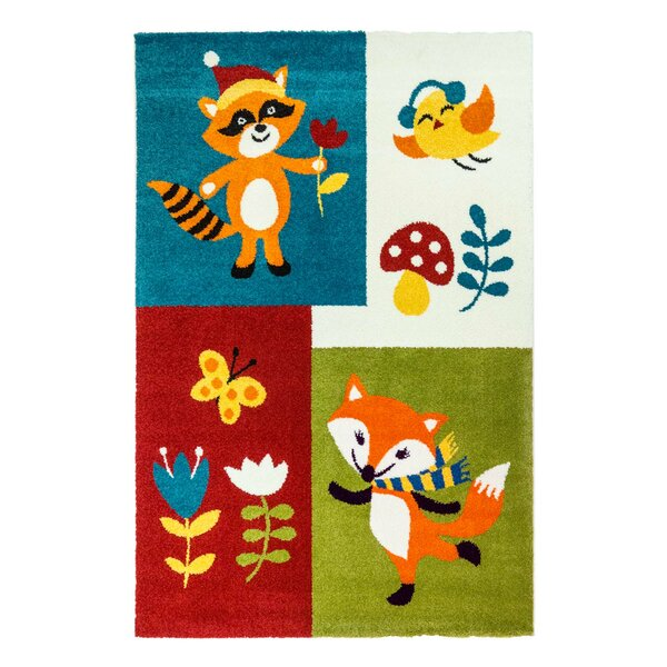 Howton Kids Fox Red/Green Area Rug by Zoomie Kids